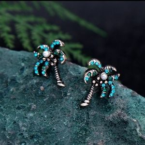 Coconut Tree Flaux Pearl Rhinestone earrings